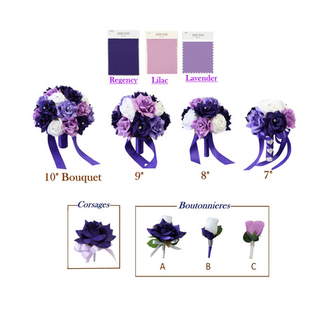 Regency Purple Lavender Rose Set