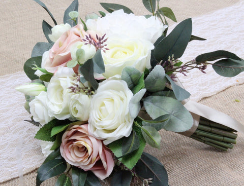 Keepsake Bouquet- Blush and Ivory Peony Garden Rose Bouquet with Eucalyptus Lambs Ear Leaves