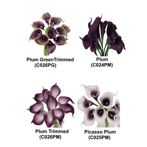 10pc Set of real touch calla lilies Plum Purple Theme