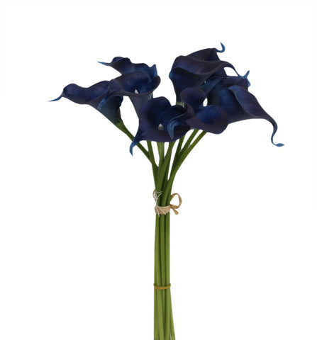 USA -10pc calla lily bundle - Navy Blue Theme Real Touch Flowers