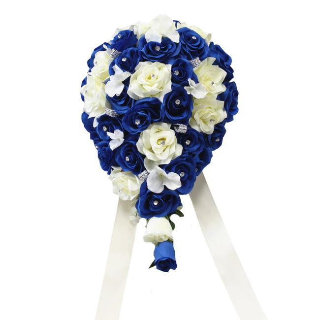 Cascade Bouquet - Royal Blue and White or Ivory Artificial Roses with Hydrangea and Bling - Angel Isabella