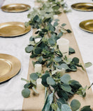 58inch Artificial lush green silver dollar seeded eucalyptus garland. Table Centerpiece Arch Decoration Artificial Quality Flowers