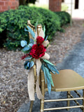 Aisle Marker Pew Chair Lantern Flower- Red Roses Burlap Ribbon and Eucalyptus Leaves