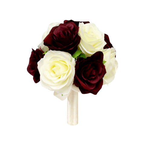 "8"" Bouquet- Quality Silk Roses Wine Burgundy with White or Ivory"