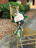 Aisle maker pew chair lantern flower - Blush Pink ivory with greenery rustic quality flowers - Angel Isabella