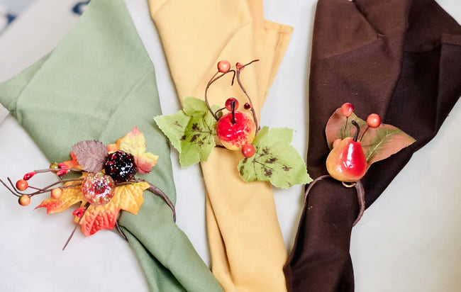 8pc pack Napkin rings: harvest fall maple fruit pumpkin theme Thanksgiving Fall wedding Dining dinner gathering - Angel Isabella