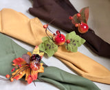8pc pack Napkin rings: harvest fall maple fruit pumpkin theme Thanksgiving Fall wedding Dining dinner gathering