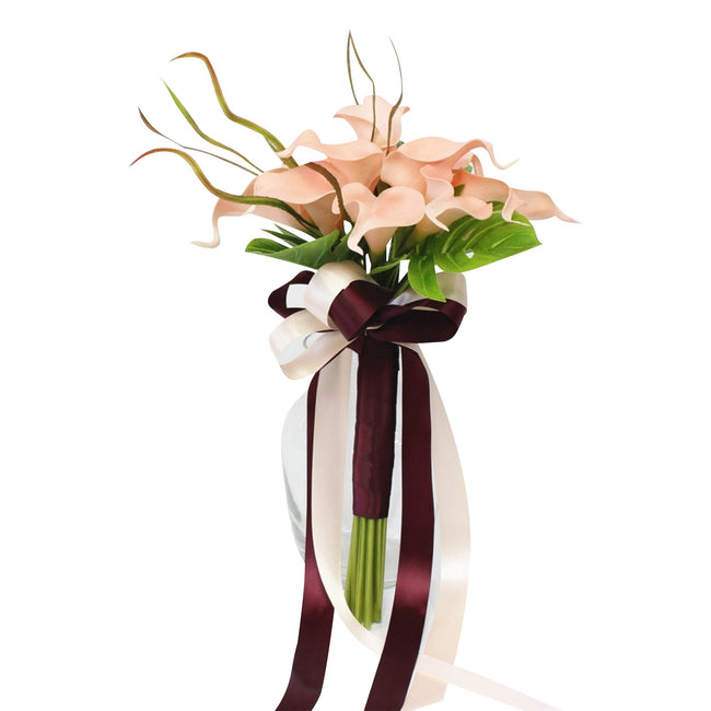 Tropical wedding bouquet- Real Touch Blush Pink Calla Lily Palm Leaf - Angel Isabella