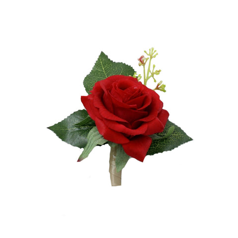 Real Touch life like premium quality real touch red rose boutonniere-your choice of ribbon color