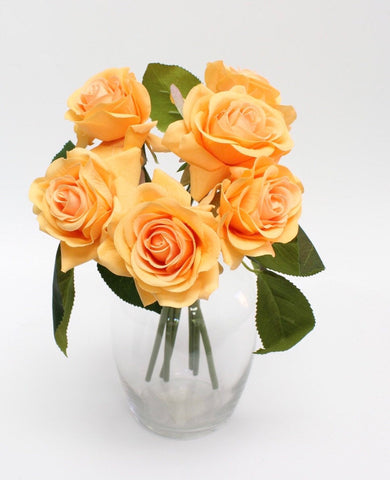 Real-Touch Medium Rose Bouquet - Orange, Lavender, or Cream