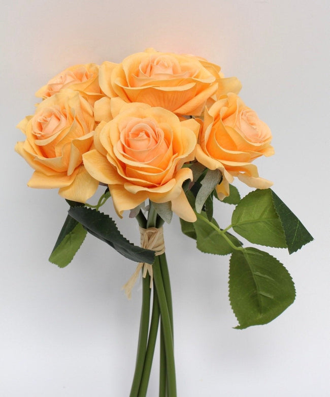 Real-Touch Medium Rose Bouquet - Orange, Lavender, or Cream - Angel Isabella