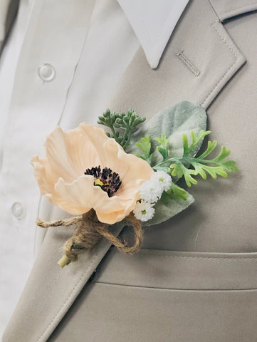 Boutonniere: Real Touch Poppy with Lamb Ear Eucalyptus Seeds Baby Breath - choose poppy color