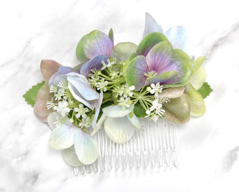 Ocean breeze Hydrangea Calla lily Flower hair comb headpiece corsage boutonniere Ice Blue Lavender mint Spa wedding Prom homecoming