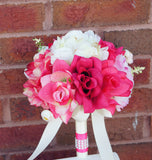 shades of pink Ivory Peony rose bouquet