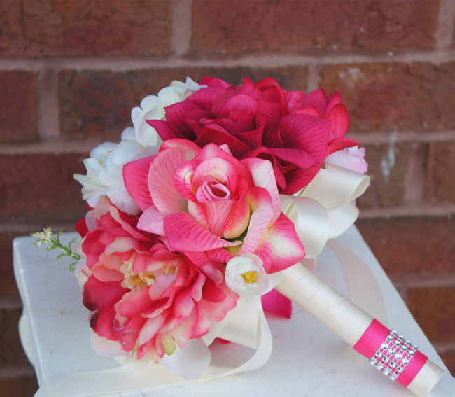 "8"" Bouquet - Shades of Hot Pink and Fuchsia Rose and Peony bouquet - Angel Isabella"