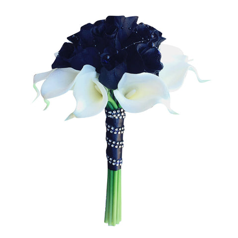 "8"" bouquet - Black Rosebuds with 10 stems of real touch calla lily"