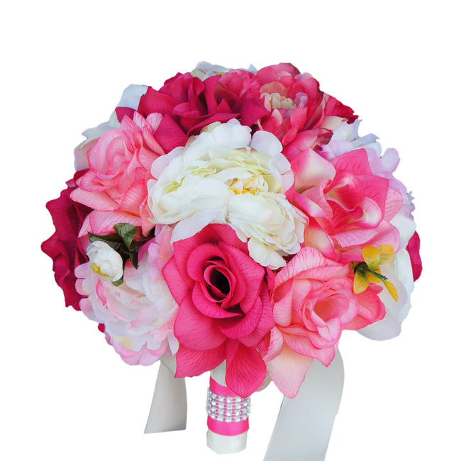 "9"" Bouquet: Shades of Pink and Ivory Silk Rose and Peony Bouquet - Angel Isabella"