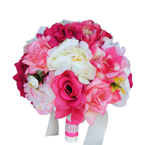 "9"" Bouquet: Shades of Pink and Ivory Silk Rose and Peony Bouquet"