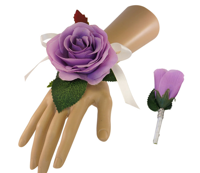 Set: Wrist corsage & Boutonniere Lilac Purple Roses - Angel Isabella