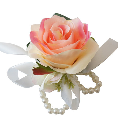 Wrist Corsage with Pearl Wristband - Artificial Rose Hydrangea ( 6 colors to choose from )