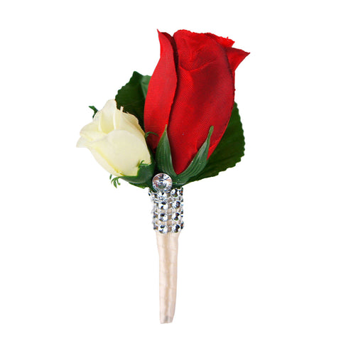 Boutonniere - Red rosebud with mini ivory rose