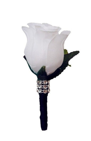 Boutonniere - White Rosebud with Black Stem