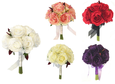 "Good quality Hand-Tied Rose Bouquet (DIA8""x10""H)"