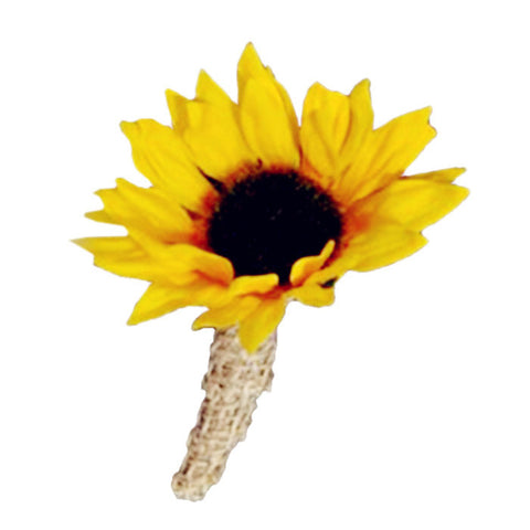 Sunflower Boutonniere With Burlap Wrapped Stem