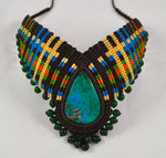 Handmade macrame necklace and Chrysocolla Artisan Choker