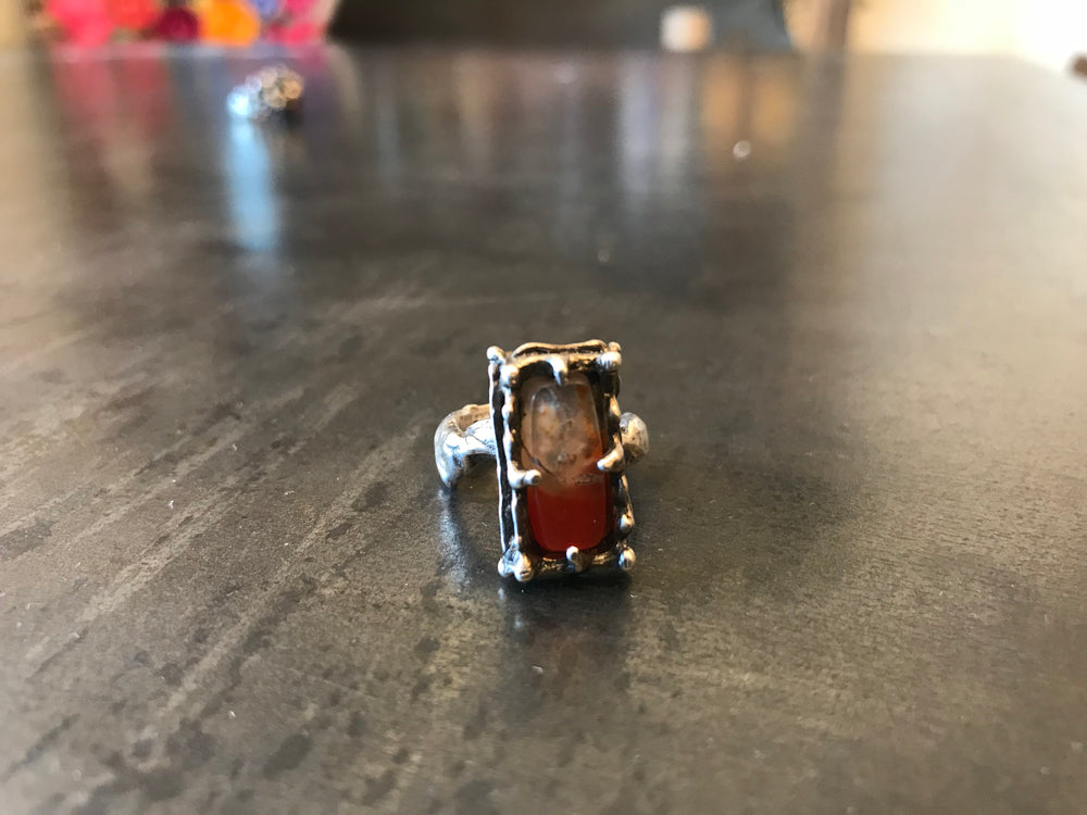 Sterling Silver  Red calsite artisan Ring Handmade Jewelry 5