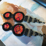 XL long hand stitched ceramic artisan bohemian handmade  Earrings Jewelry Black Color