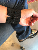 Handmade  Bead Beaded Cuff bracelet Statement Obsidian