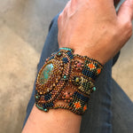 Handmade  Bead Beaded Cuff bracelet Statement Multi color