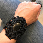 Beaded Cuff bracelet Statement Obsidian