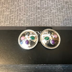 sterling silver Vintage polished modern hammered multi gemstone large studs Clip On