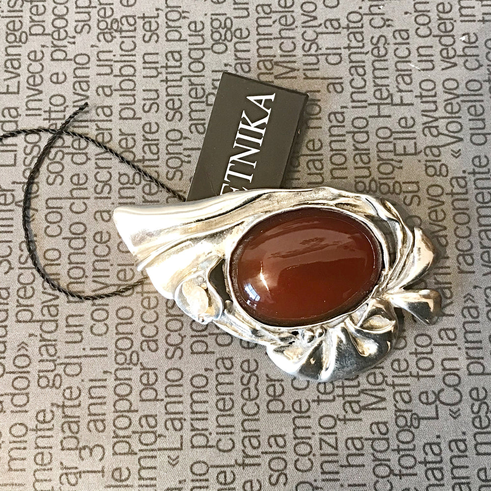 Artisan Abstract Carnelian  Modernist Pendant Brooch  Pin
