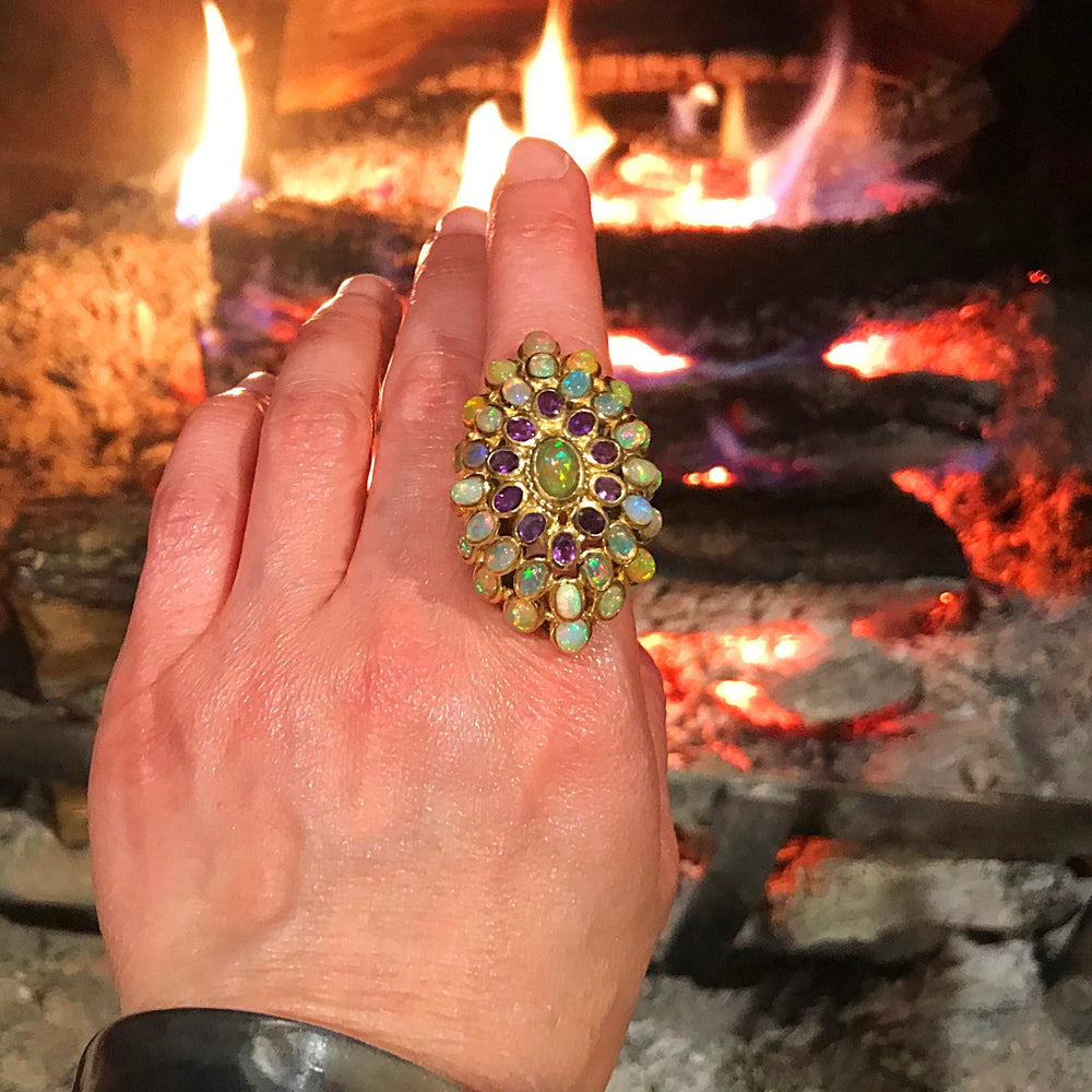 Handmade Sterling Silver Gold huge Art Deco Opal amethyst statement  artisan ring 7
