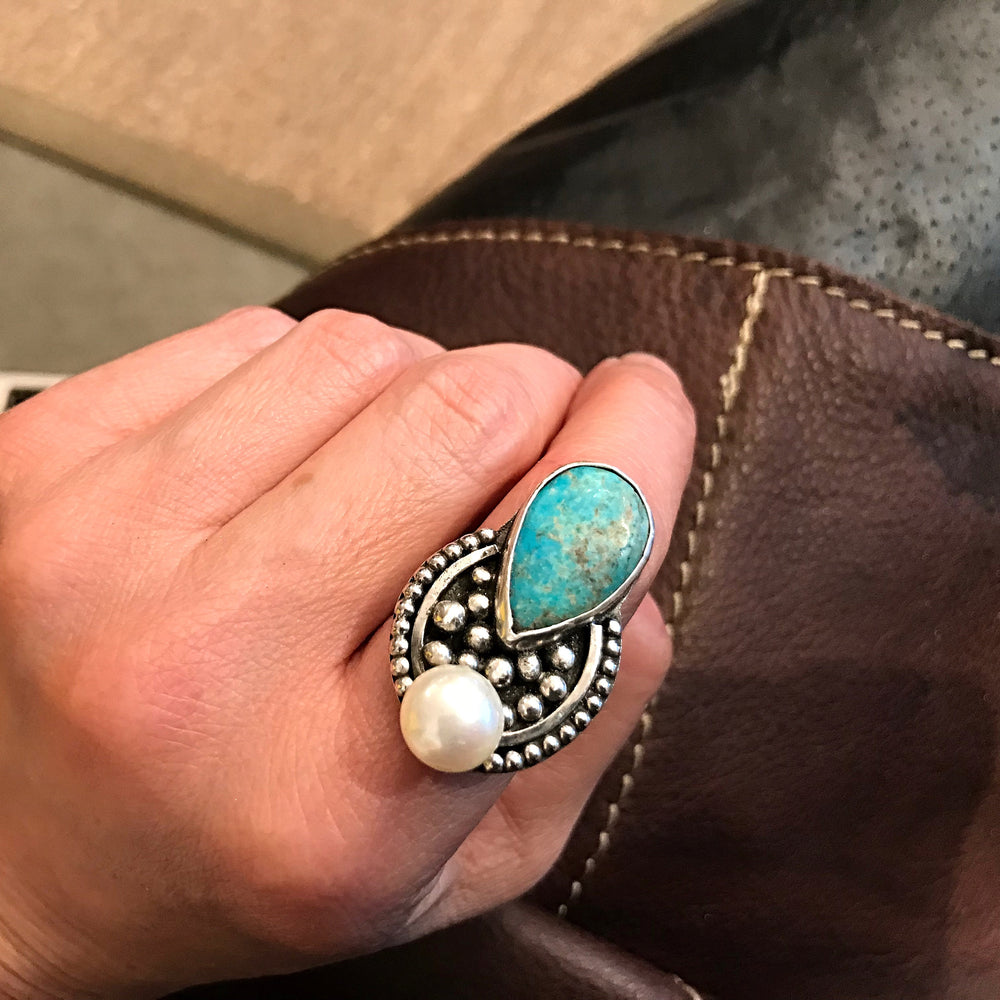 Handmade Sterling Silver Adjustable Genuine Turquoise Pearl Statement Ring