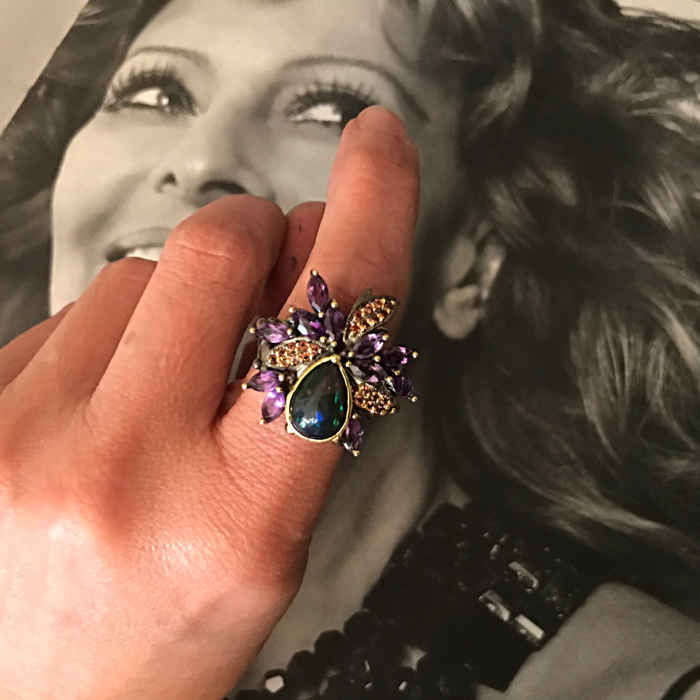 Handmade Sterling Silver Amethyst Statement Black Fire Artist gold Rhodium plate opal flower ring 7.5