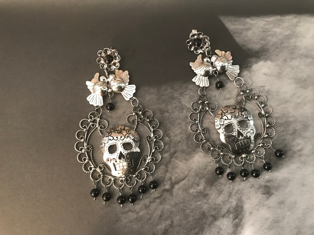 sterling silver Black Onyx Skull Katrina Filigree long Statement Earrings Artisan Handmade Frida Kahlo Love birds