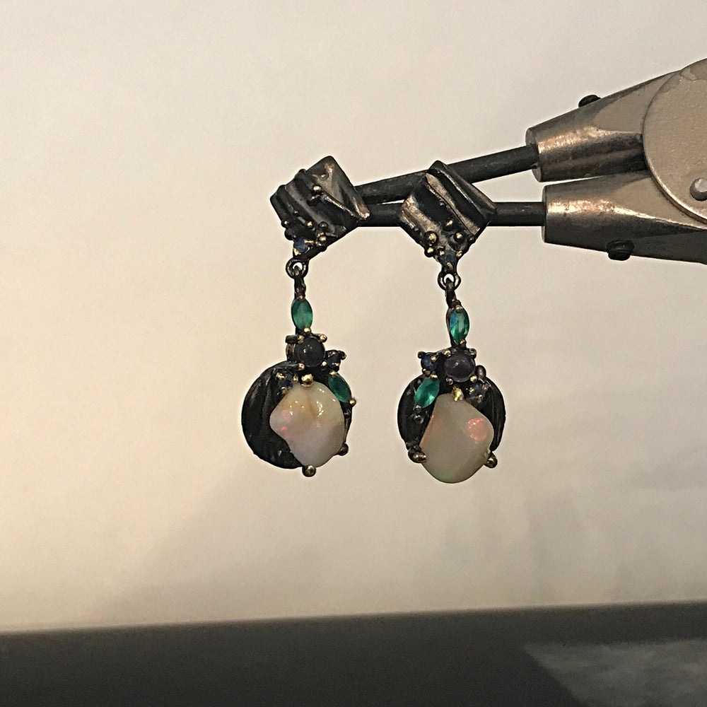 Sterling Silver Natural fire black  Opal amethyst chrome diopside dangle Gemstone  Earrings Jewelry