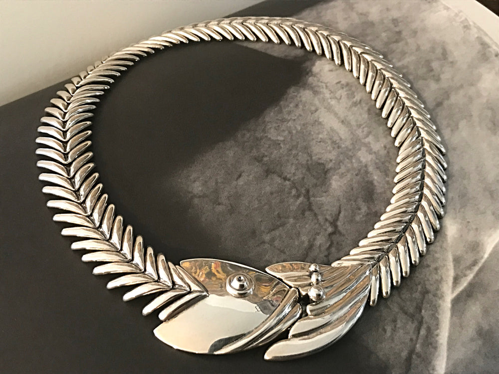 Sterling silver statement fish necklace handmade  Modernist necklace collar.
