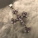 Sterling Silver amethyst  huge cross for Necklace pendant