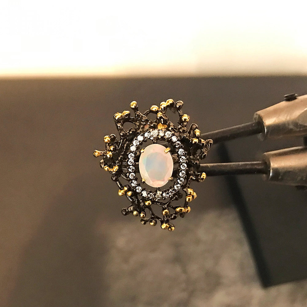 Genuine Natural opal CZ abstract  Sterling Silver artisan statement  ring  7.5