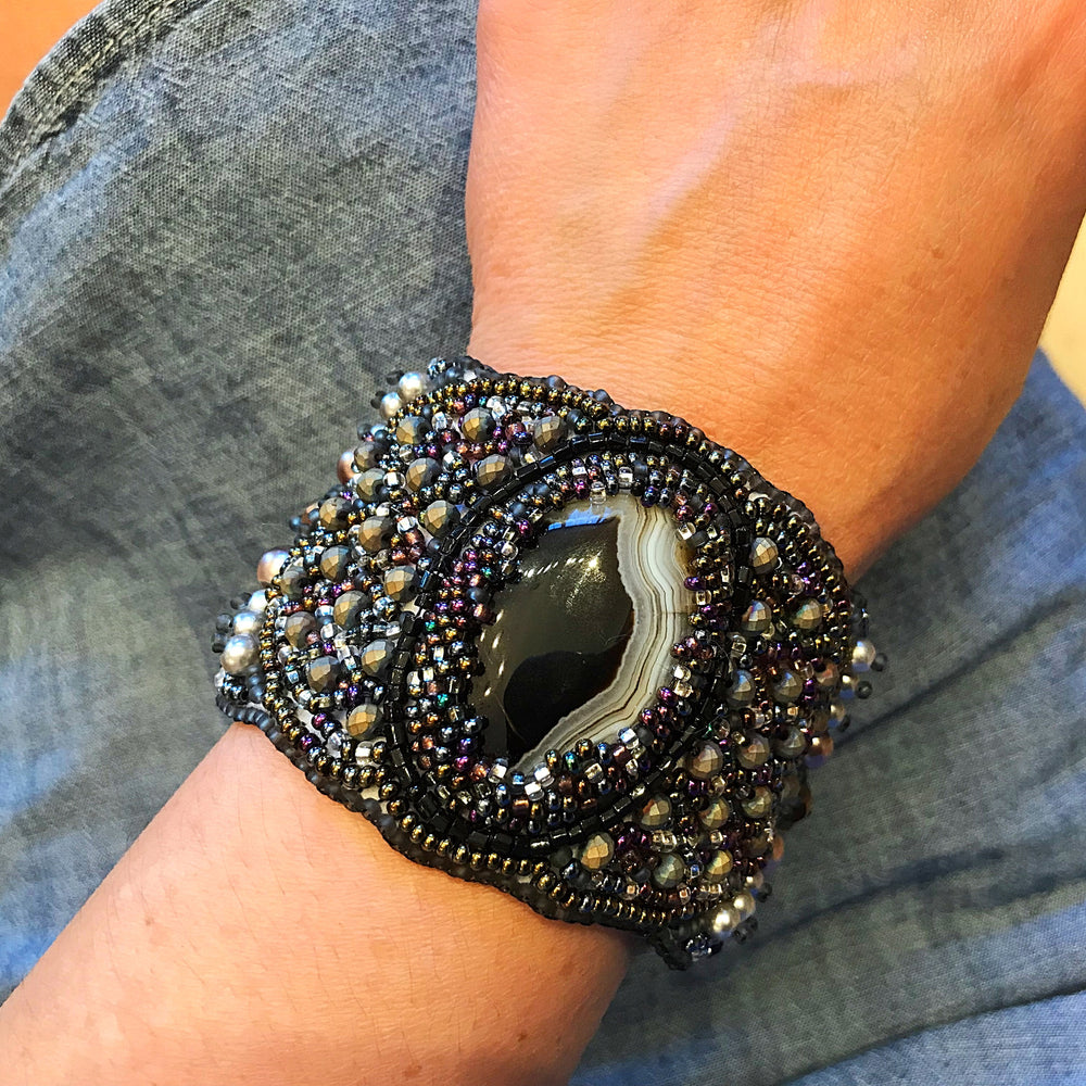 Beaded Cuff magnetic  bracelet Statement agate