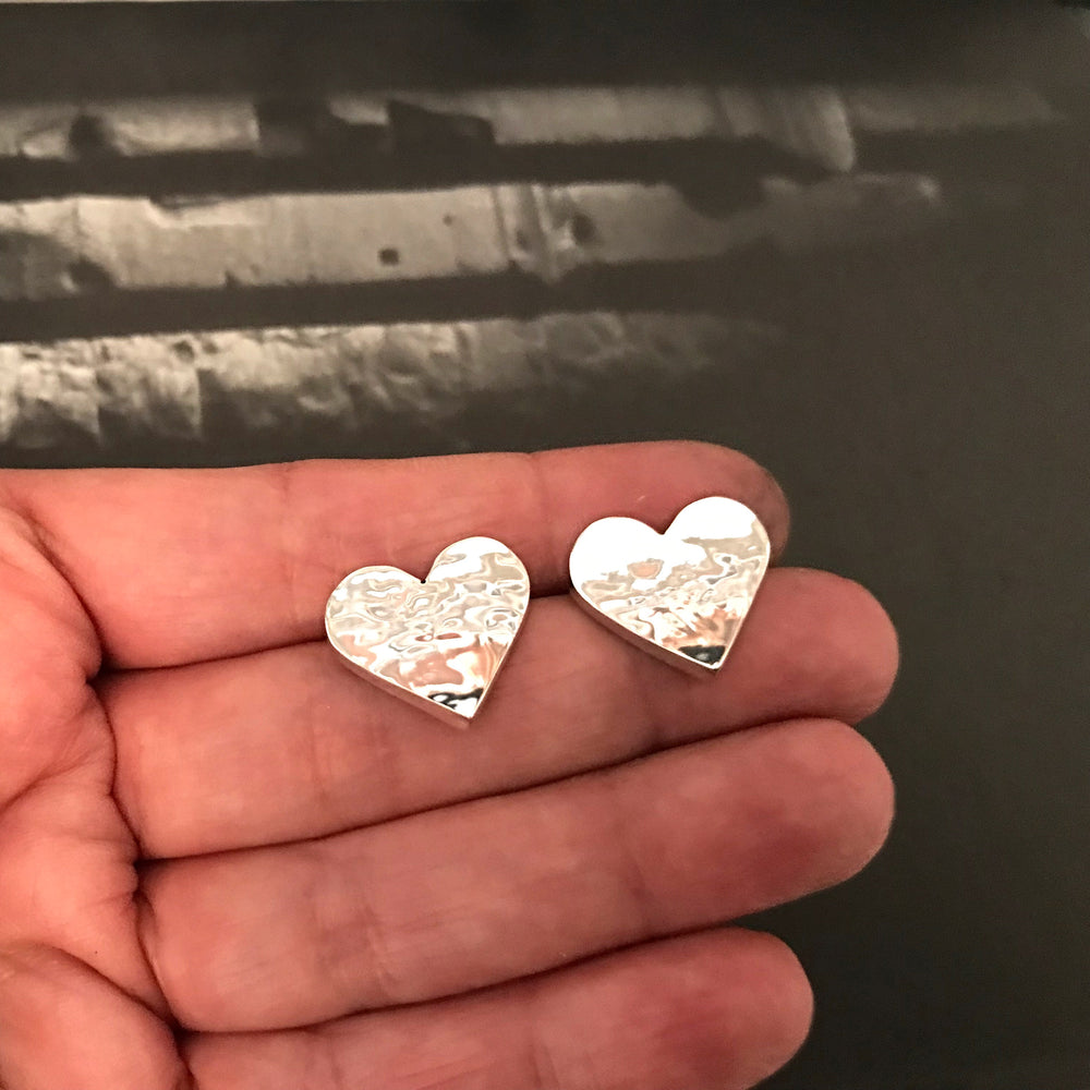 sterling silver high polished modernist hammered 3D heart stud earrings handmade