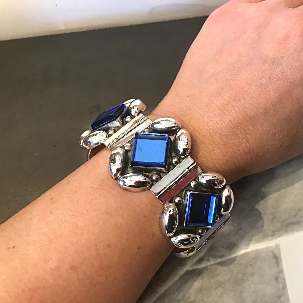 Handmade Sterling Silver Vintage Blue Glass bracelet statement Artisan