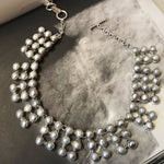 925 sterling silver Artisan Handmade Necklace Collar Grey Natural Pearl Statement