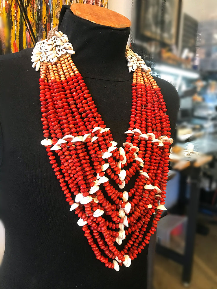 Red Java Seed Runway Artisan Studio Long Ethnic Necklace