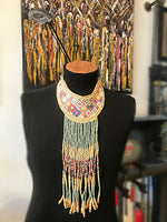 Guipil Textile Runway Statement Green Artisan Studio Long Ethnic Necklace